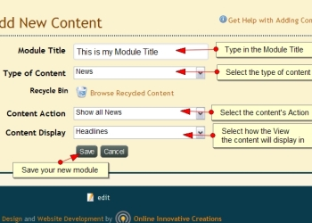 Add New Module Configuration Exponent CMS